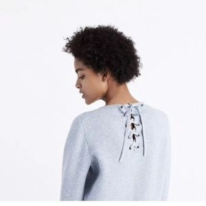 NWOT Madewell Speckled Crewneck with Tie back